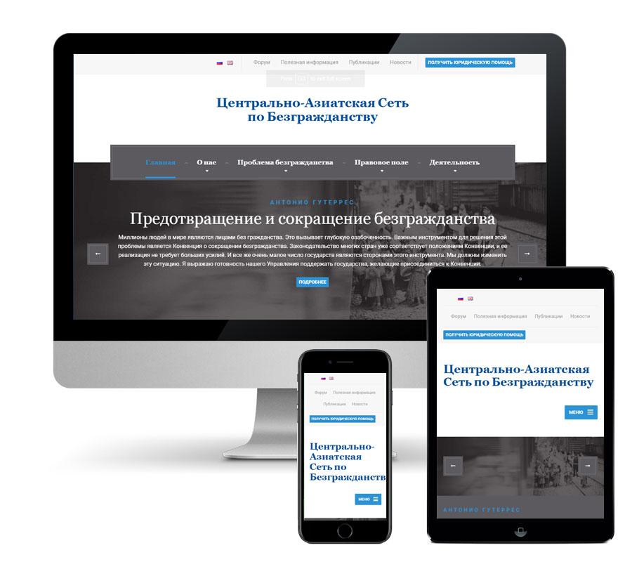 Создание сайта Центрально-Азиатской Сети по Безгражданству