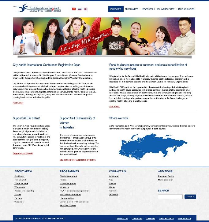 Создание сайта для Общества «СПИД Фонд Восток-Запад»